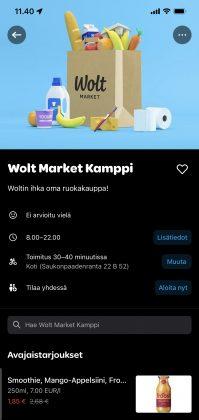 Wolt Market Kamppi on nyt avautunut.