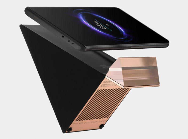 Xiaomin 100 watin langaton latausteline on muotoiltu suoraviivaisesti.