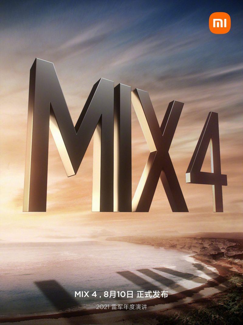 Xiaomi vahvisti Mi MIX 4 -julkistuksen tapahtuvan Kiinassa 10. elokuuta.