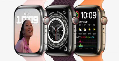 Apple Watch Series 7:n teräsrungon värivaihtoehdot.