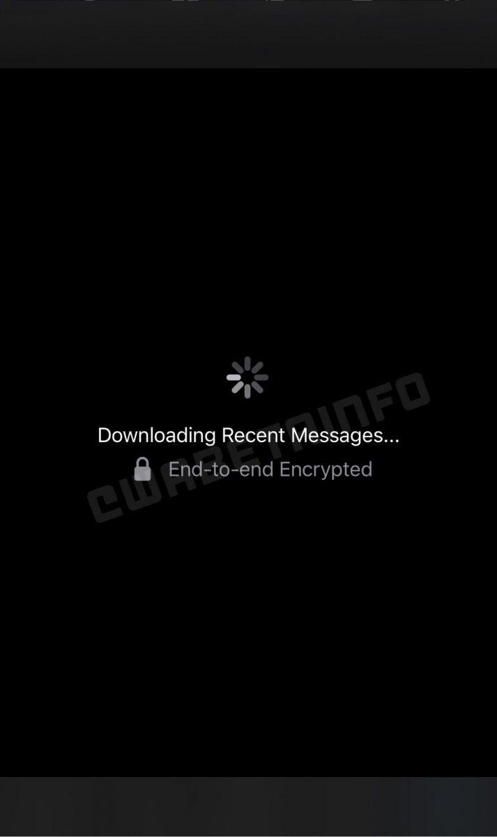 Näyttökuva kertoo viestien latautumisesta toiseen mobiililaitteeseen osana WhatsApp-tiliä. Kuva: WABetaInfo.