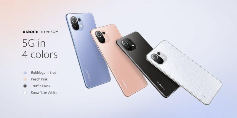 Xiaomi 11 Lite 5G NE:n neljä värivaihtoehtoa.