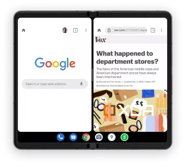 Tällaisella kuvalla Google esitteli tehtäväpalkkia taittuvanäyttöisille laitteille.