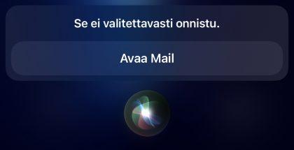 Applen Siri ei osaa enää esimerkiksi lähettää sähköposteja.
