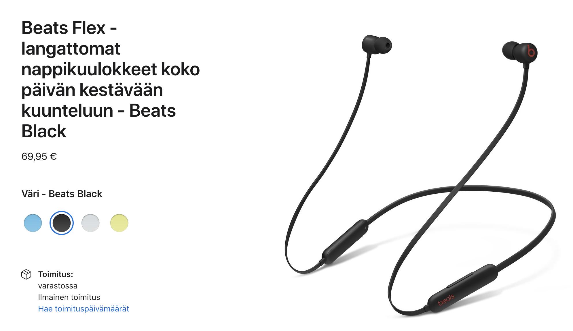 Beats Flex -kuulokkeet maksavat nyt Applen verkkokaupassa 69,95 euroa.