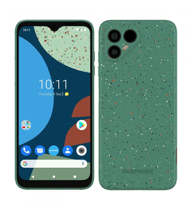 Fairphone 4 pilkullisena vihreänä.