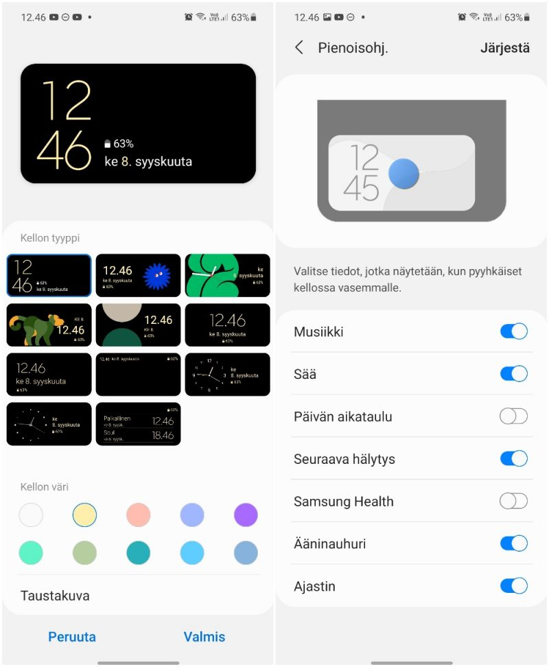 Galaxy Z Flip3:n kansinäytön asetukset.