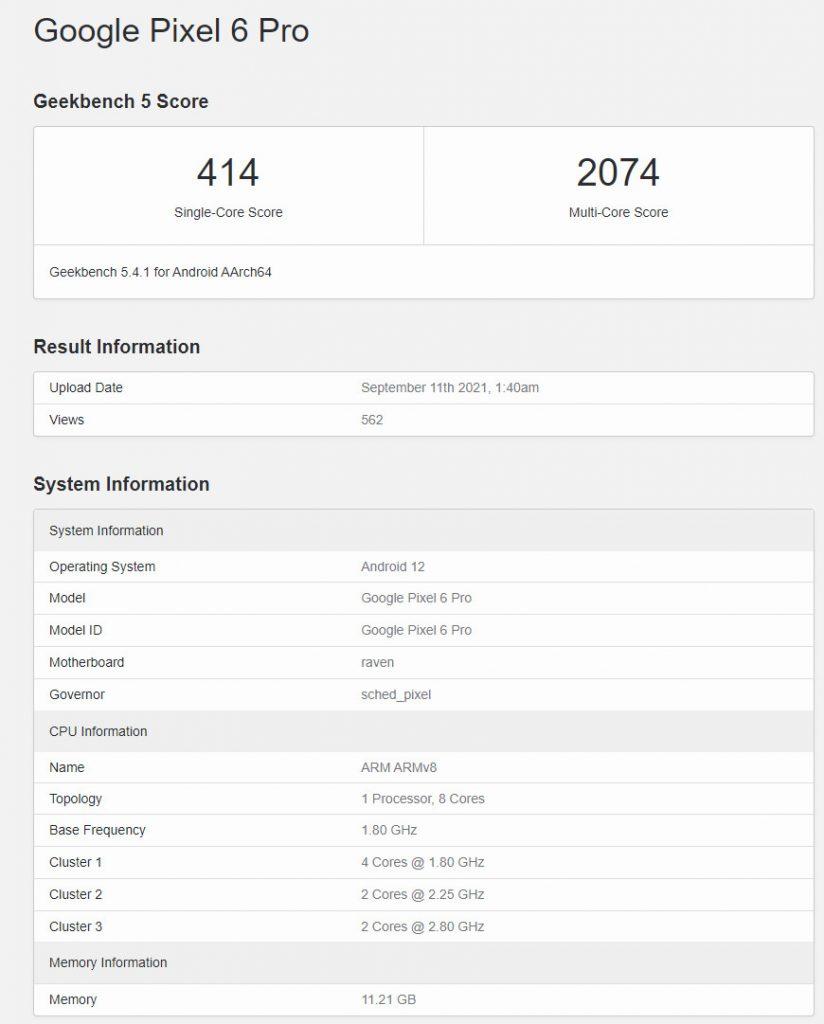 Google Pixel 6 Pro GeekBench-tietokannassa.