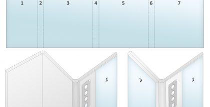 Huawein kolmella taitoksella varustettu laite LetsGoDigitalin luomassa mallinnoksessa.
