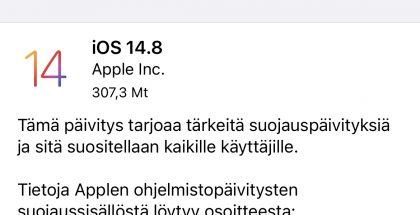 iOS 14.8 on nyt ladattavissa.