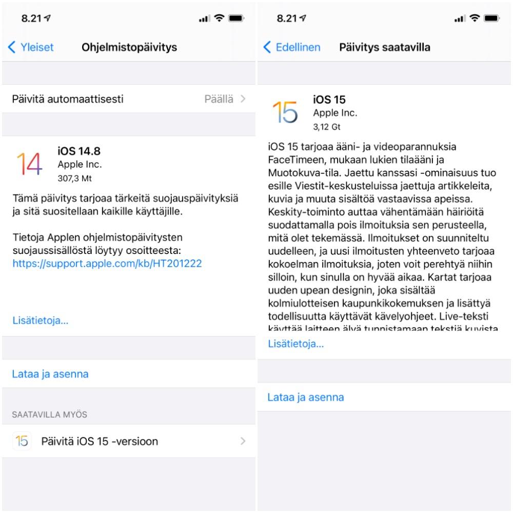 iOS 14 -laitteissa päivityksenä on tarjolla erillisenä valintana iOS 15 -versio sekä toistaiseksi viimeisin iOS 14 -versio, jos se on vielä asentamatta.