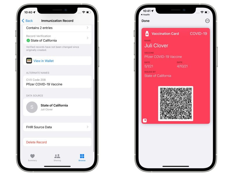 iOS 15.1 lisää tuen koronarokotuskortin lisäämiselle Lompakko-sovellukseen. Kuva: MacRumors.
