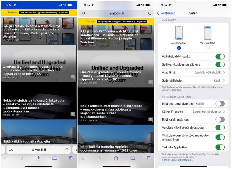 iOS 15 tarjoaa Safarin uuden käyttöliittymän (vasemmalla) lisäksi vaihtoehtona edelleen aiemman käyttöliittymän (keskellä). Asetuksista voi valita kahden vaihtoehdon välillä.