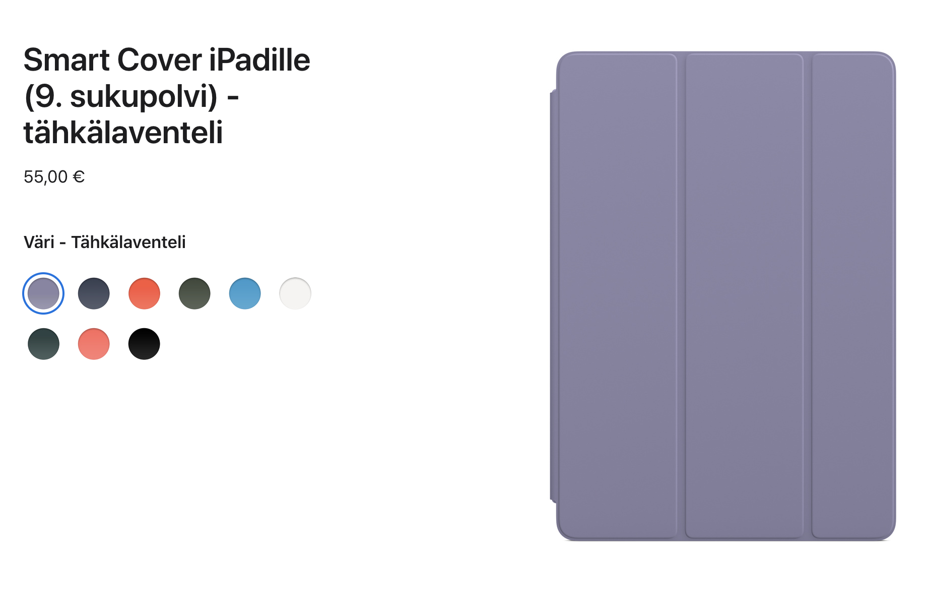Smart Cover 9. sukupolven iPadille.