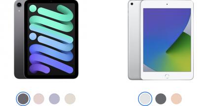 Vasemmalla uusi 6. sukupolven iPad mini, oikealla edeltävä 5. sukupolven iPad mini. Uutuudessa on selvästi pienemmät reunukset näytön ympärillä eikä enää kotipainiketta.