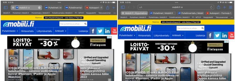 iPadOS 15 tarjoaa Safarin uuden käyttöliittymän (vasemmalla) vaihtoehtona erillisille osoite- ja hakupalkille sekä välilehtipalkille (oikealla).