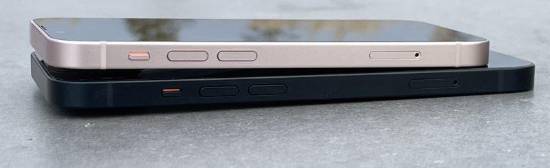 iPhone 13 mini ja iPhone 13 sivulta.