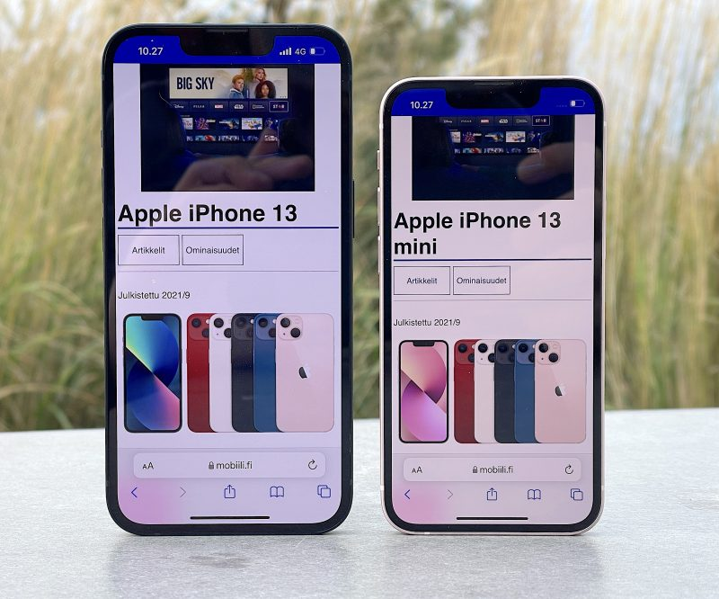 iPhone 13:ssa on 6,1 tuuman ja iPhone 13 minissä 5,4 tuuman näyttö.