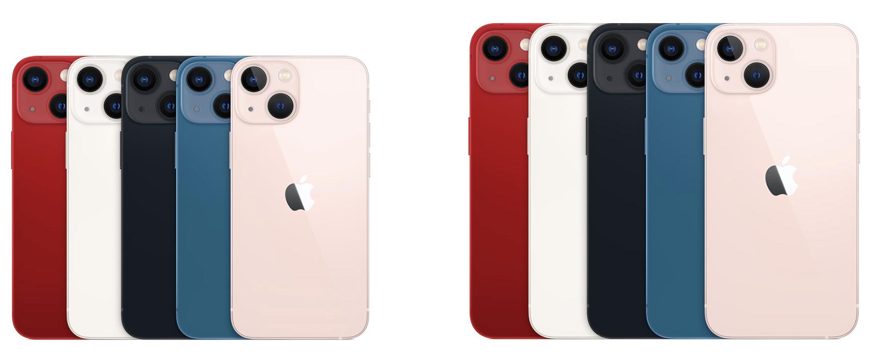 iPhone 13 mini ja iPhone 13 eri väreissä.