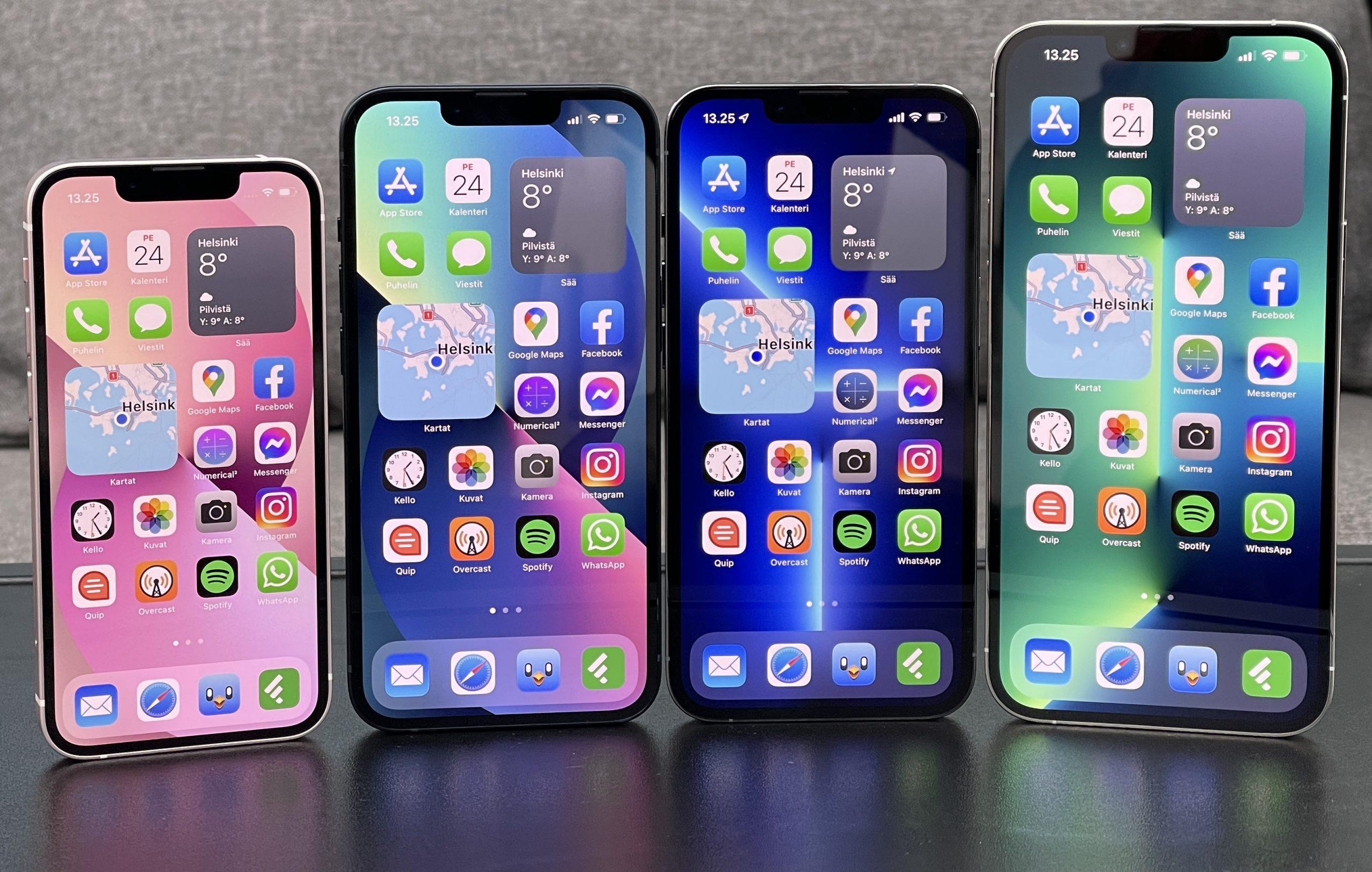 iPhone 13 mini, iPhone 13, iPhone 13 Pro ja iPhone 13 Pro Max.