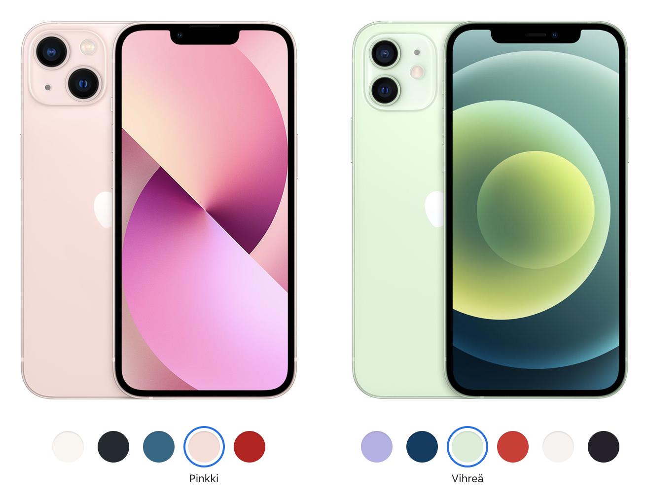 iPhone 13 ja iPhone 12.