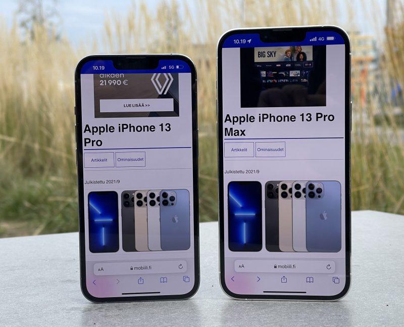 iPhone 13 Prossa on 6,1 tuuman ja iPhone 13 Pro Maxissa 6,7 tuuman näyttö.