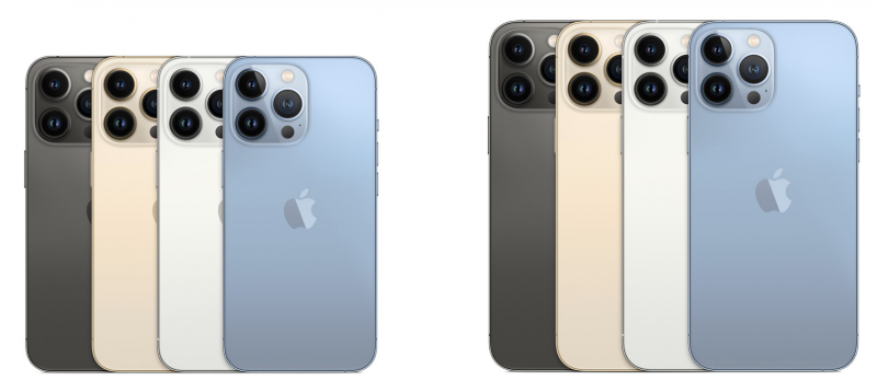 iPhone 13 Pro ja iPhone 13 Pro Max eri väreissä.