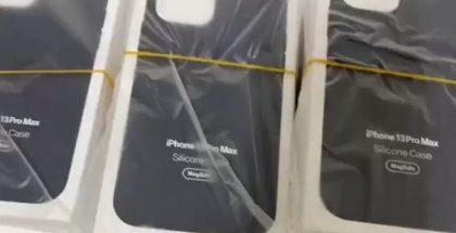 Kuvankaappaus videolta väitetyistä iPhone 13 Pro Maxin silikonisuojakuorista.