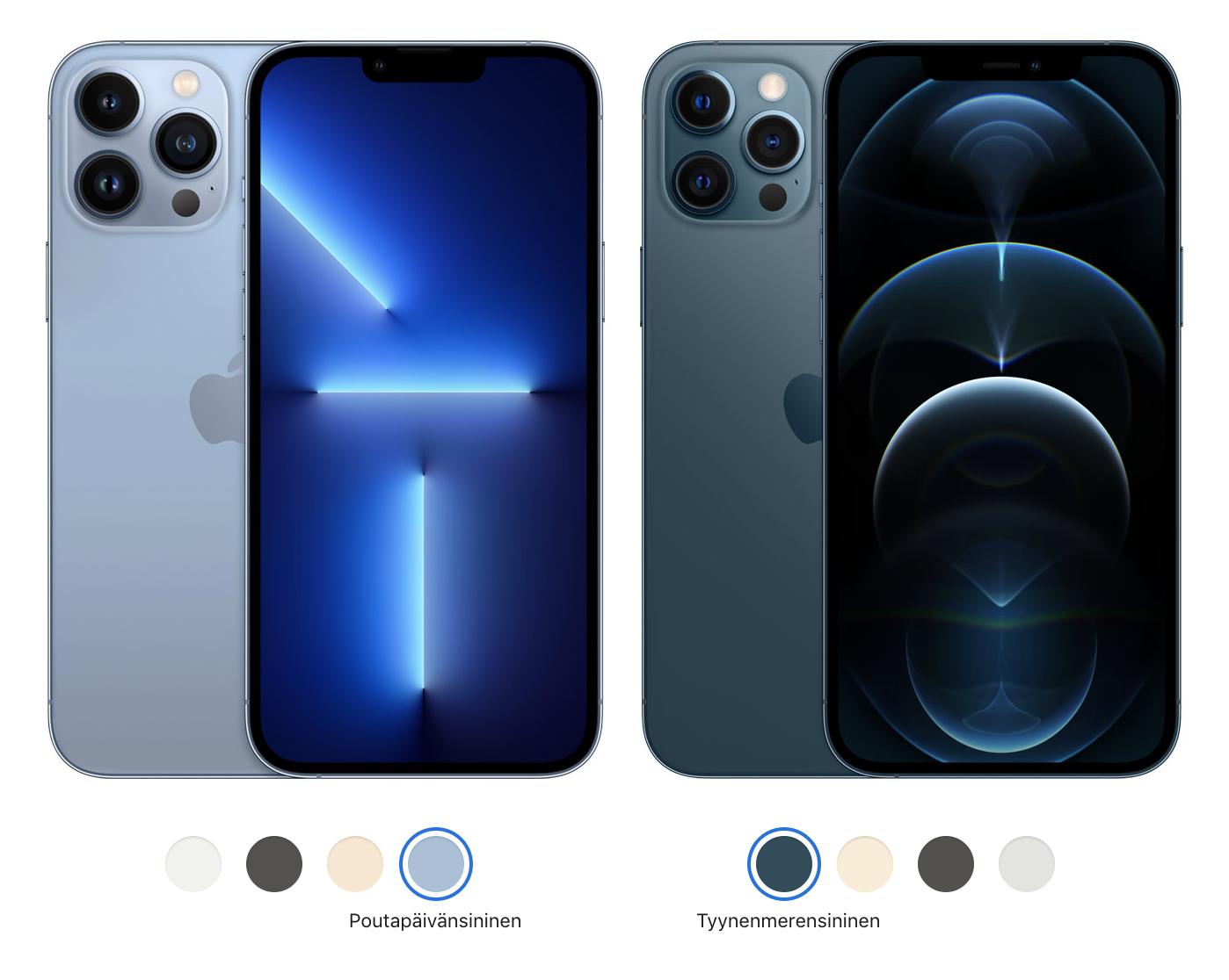iPhone 13 Pro Max ja iPhone 12 Pro Max.
