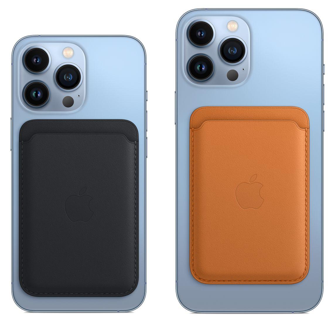 Nahkalompakko iPhone 13 Pron ja iPhone 13 Pro Maxin kanssa.