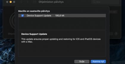 macOS:lle on saatavilla Device Support Update -päivitys.