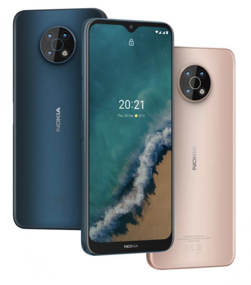 Nokia G50:n värivaihtoehdot, sininen Ocean Blue ja vaalea Midnight Sun.