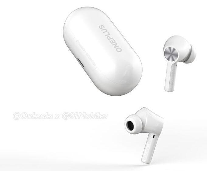 OnePlus Buds Z2 -kuulokkeet ja latauskotelo mallinnoskuvassa. Kuva: OnLeaks / 91mobiles.