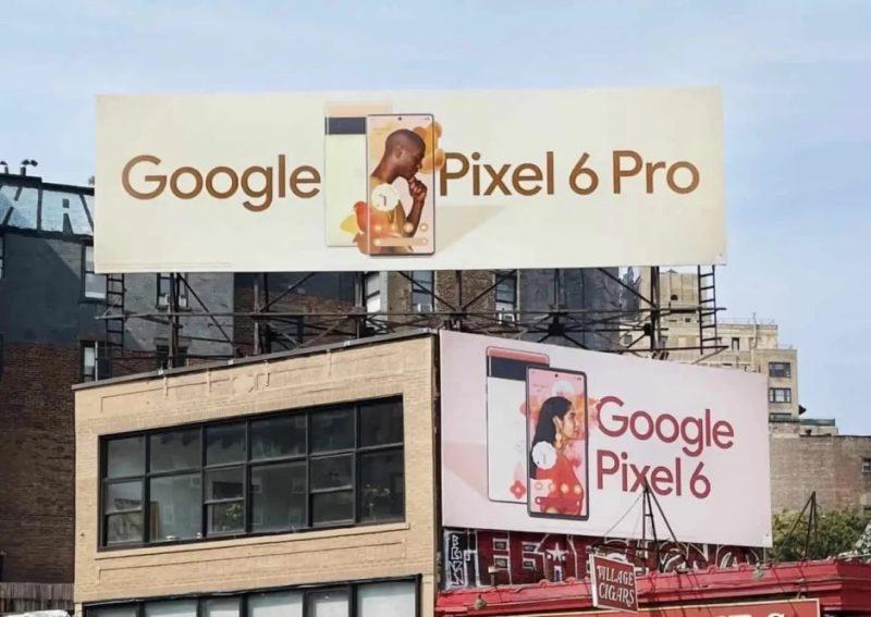 Pixel 6 ja 6 Pro -ulkomainokset. Kuva: David Urbanke / Twitter.