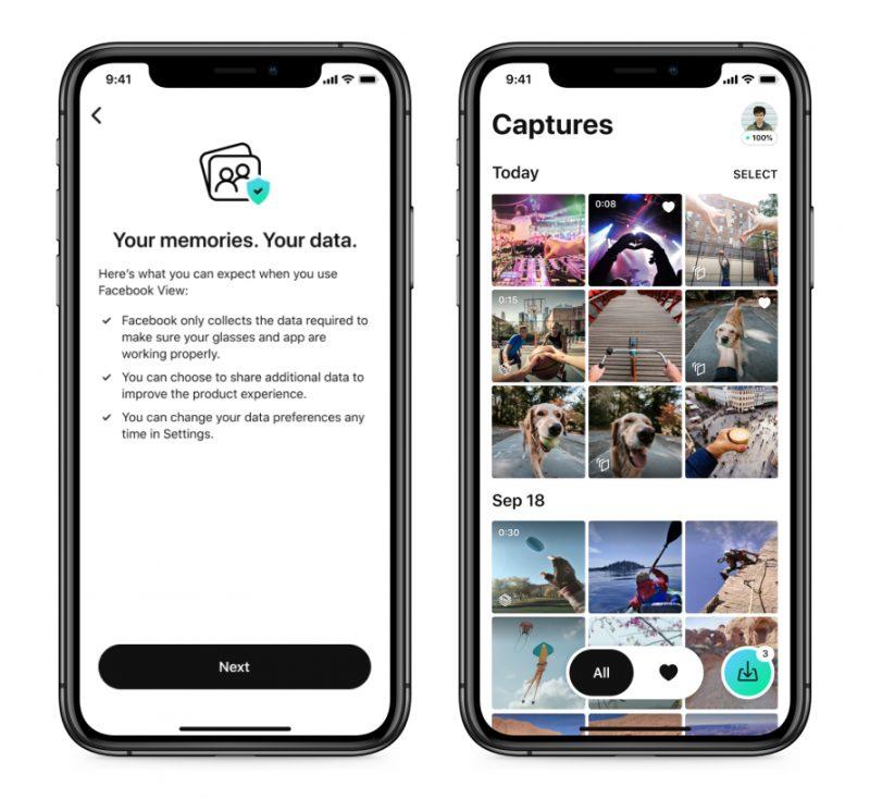 Videot ja kuvat siirtyvät Ray-Ban Stories -laseista Facebook View -sovellukseen.