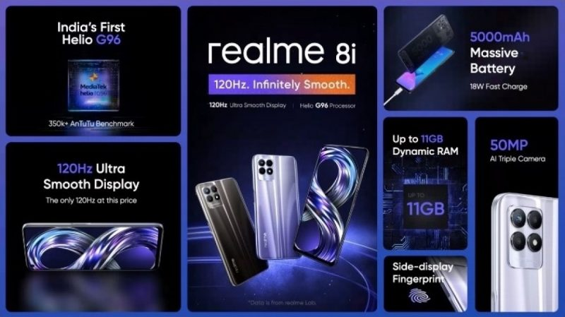 Realme 8i tarjoaa muun muassa MediaTek Helio G96 -järjestelmäpiirin ja 50 megapikselin kameran.