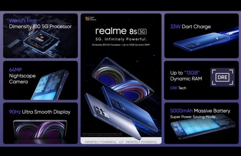 Realme 8S 5G on ensimmäinen älypuhelin MediaTek Dimensity 810 -järjestelmäpiirillä.