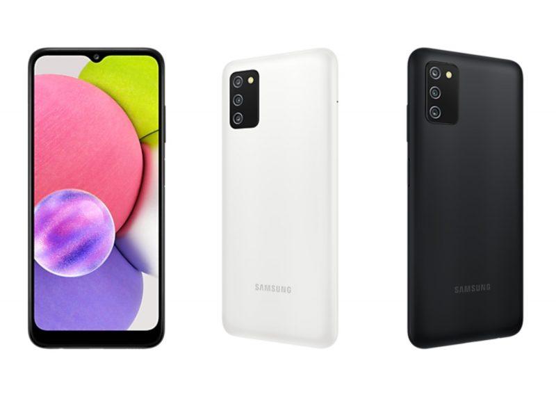 Samsung Galaxy A03s valkoisena ja mustana.