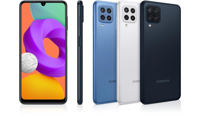Samsung Galaxy M22:ssa on 6,4 tuuman Super AMOLED -näyttö ja neljä takakameraa.