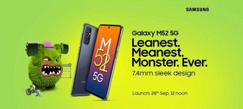 Samsung Galaxy M52 5G julkistetaan 28. syyskuuta.