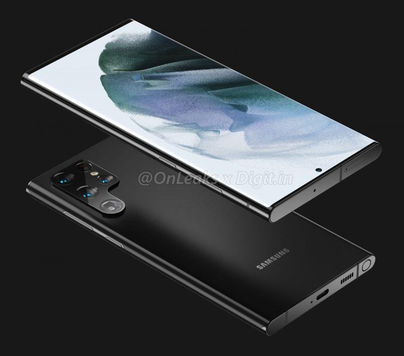 Samsung Galaxy S22 Ultran / Galaxy Note22 Ultran mallinnos. Kuva: OnLeaks / Digit.in.