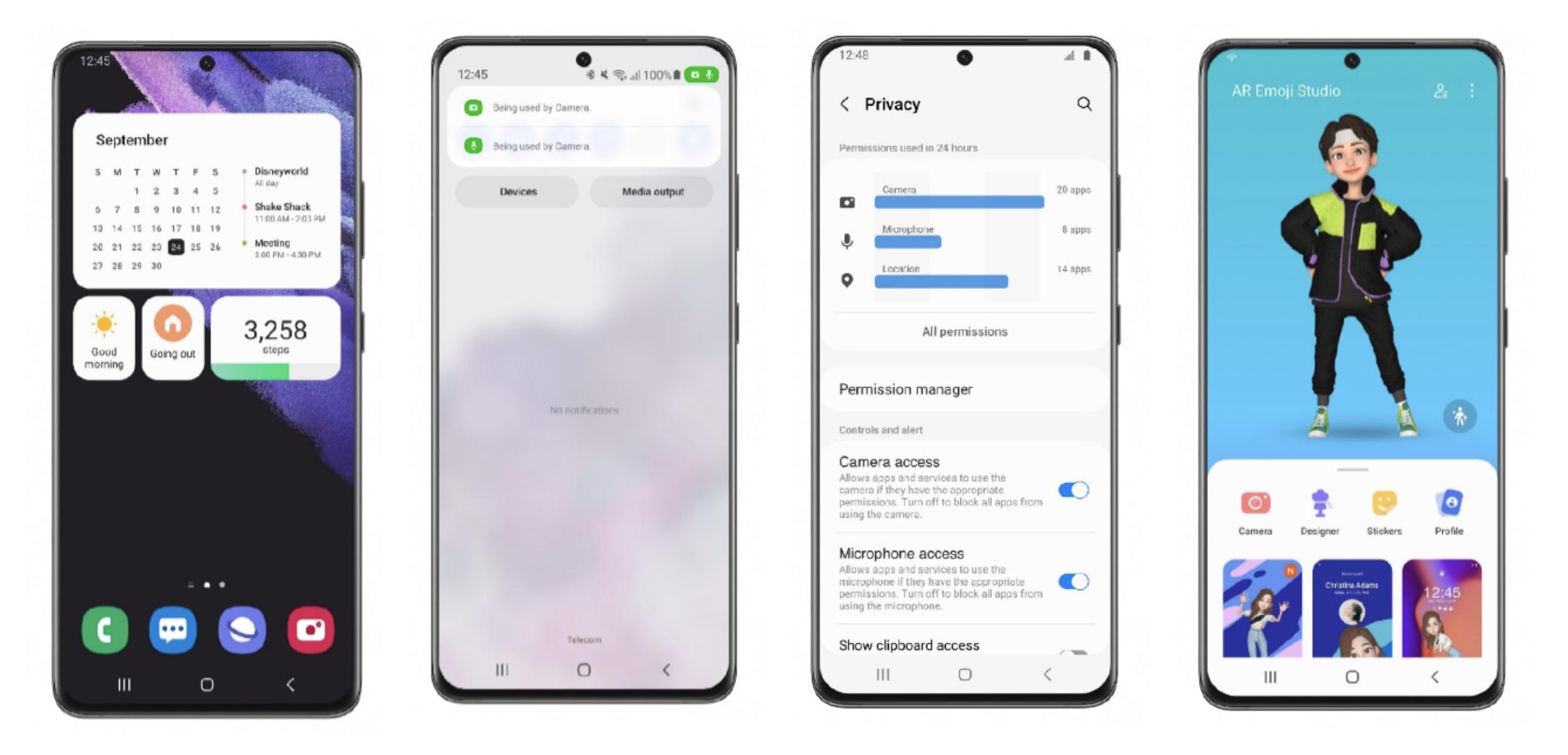 Samsung One UI 4:n uudistuksia: uudet widgetit, kamera- ja mikrofonikäytön merkit, tietoa lupien käytöstä asetuksissa sekä emojit, kuten AR Emojit, helpommin saatavilla.