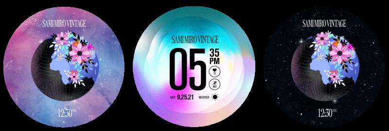 Samsungin rannekkeiden rinnalla julkaisemat kellotaulut.