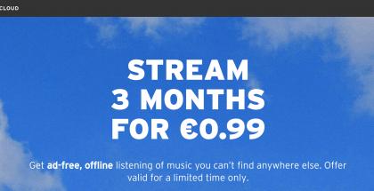 SoundCloud Go+:n hinta on tarjouksessa 3 kuukaudelta vain 0,99 euroa.