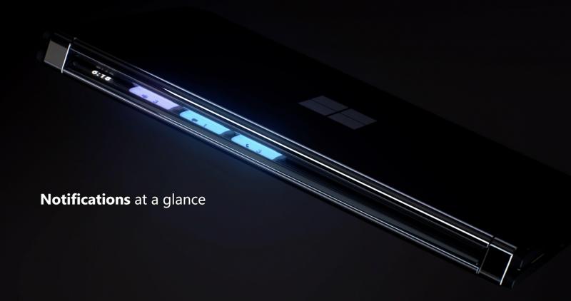 Kiinni taitetun Surface Duo 2:n raosta näkyvät ilmoitustiedot.
