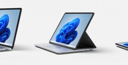 Surface Laptop Studio kolmessa eri käyttötilassa.