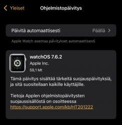 Myös watchOS 7.6.2 on nyt ladattavissa.