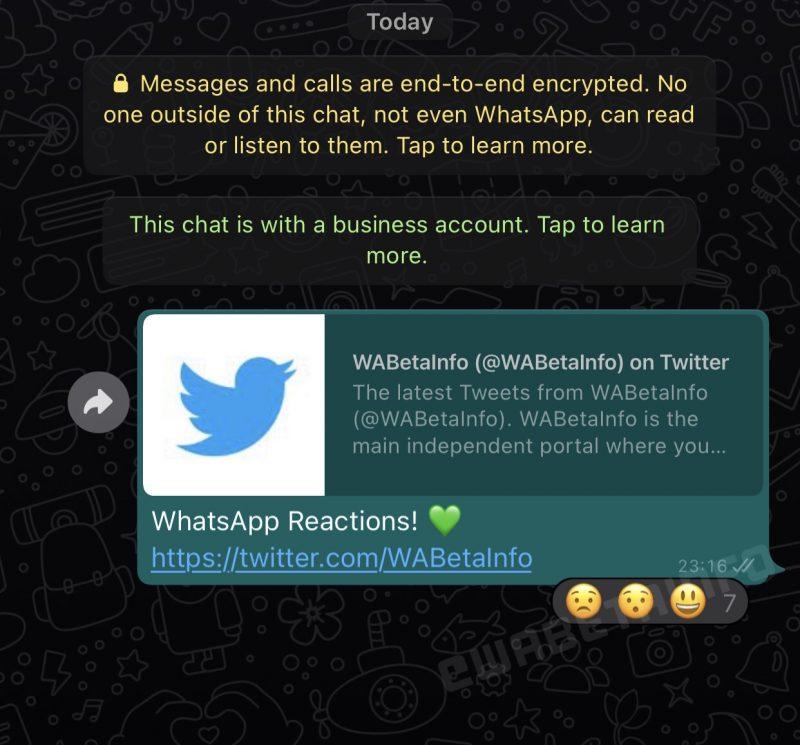 Reaktiot WhatsApp-viestissä. Kuva: WABetaInfo.