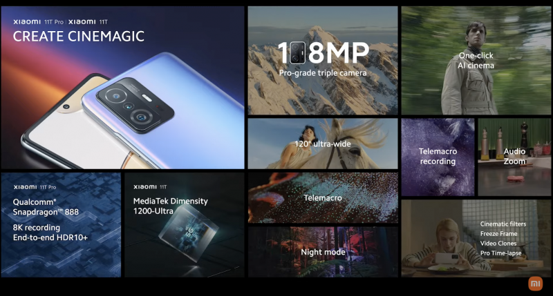 Xiaomi 11T -puhelinten kameraominaisuuksia.