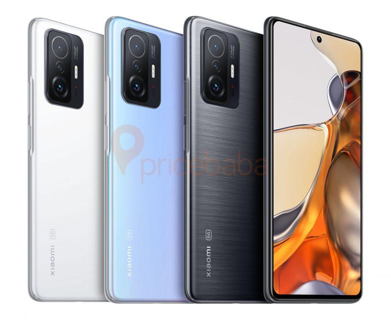Xiaomi 11T eri väreissä aiemmassa vuotokuvassa. Kuva: Ishan Agarwal / Pricebaba.